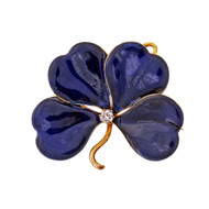 Antique Victorian 4 Leaf Clover Pin Pendant Blue Enamel Old Mine Diamond 14k