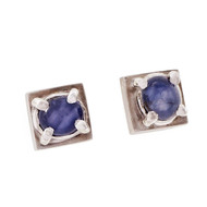 Vintage 1950 Cube Design Star Sapphire Earrings 14k White Gold