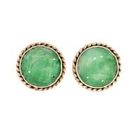 Jadeite Jade GIA Certified Carved Round Earrings 14k Yellow Gold