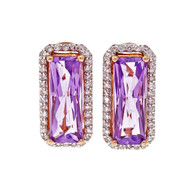 Elongated Emerald Cut Amethyst Pink Gold Diamond Halo Earrings 14k