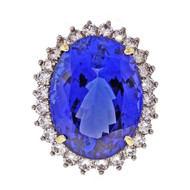 Important Oval Tanzanite Diamond Ring 18k Gold