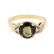 Estate Oval Green Sapphire Ring 14k Yellow Gold & Diamond