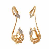 Climber Earrings Pink Gold Diamonds 14k