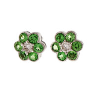 Tsavorite Garnet Diamond 14k White Gold Cluster Earrings