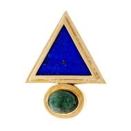 Vintage 1960 Triangle Lapis Tourmaline Pendant Enhancer Pin 14k