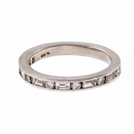 Estate OGI Platinum Round Baguette Diamond Channel Ring