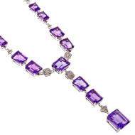 Estate Emerald Cut Amethyst Necklace 18k White Gold Diamond Accents