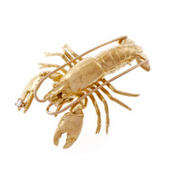 Lobster Pin 3 Dimensional Life Like 18k Yellow Gold Diamond
