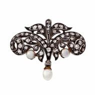 Victorian Antique 1900 Natural Pearl Diamond Pin Silver 14k Old Mine Cut