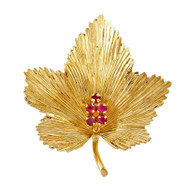 Tiffany & Co Ruby Leaf Pin Retired Italian 18k