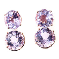 Peter Suchy Lilac Amethyst Earrings Rose Gold 14k Riviere Style