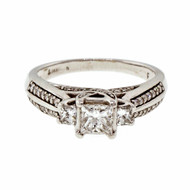 Estate Princess Cut Three Stone Diamond Ring 14k White Gold