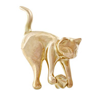 Estate Cat Pin With Spinning Ball 14k Yellow Gold