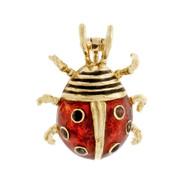 Estate Lady Bug Pin Red & Black Enamel 18k Yellow Gold