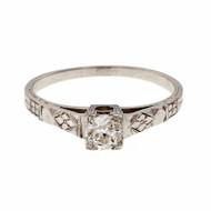 Estate Old European Diamond Engagement Ring Petite 18k White Gold