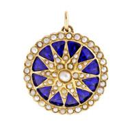 Estate 1950 Cobalt Blue Enamel Pendant 18k Yellow Gold Sunburst Design