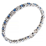 Antique 1940 Art Deco Square 5.00ct Sapphire Diamond Platinum Bracelet