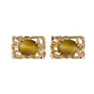 Estate Quartz Tiger Eye Cuff Links 14k Yellow Gold 1950