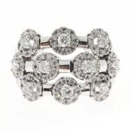 Sonia B Diamond 3 Row White Gold Flex Ring