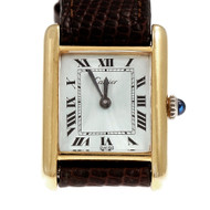 Cartier 17 Jewel Manual Wind Tank Watch Ladies Strap Wrist Watch