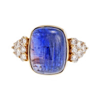 Estate Bright Blue Purple Tanzanite 1970 14k Diamond Ring