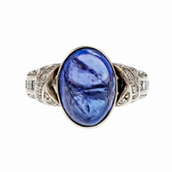 Estate 1970 Oval Cabochon Tanzanite Ring 14k White Gold Diamond Ring
