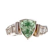 Rare Mint Yellow Green Tsavorite Garnet Ring 14k White Gold Baguette Diamond