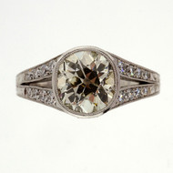 Art Deco Edwardian Platinum 1.62ct Brilliant Cut Platinum Engagement Ring
