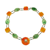 Art Deco 1920 Jadeite Jade Carnelian Necklace 14k Yellow Gold Certified
