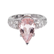 Light Pink Sapphire Ring Platinum Pavé Diamond