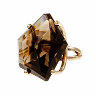 1960 Largo Freeform Smoky Quartz 14k Yellow Gold Ring