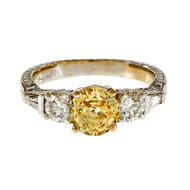 Natural Rare Light Yellow Sapphire Engagement Ring 14k White Gold Peter Suchy