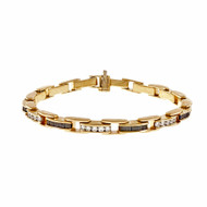 Estate Square Sapphire Round Diamond Bracelet 14k Yellow Gold