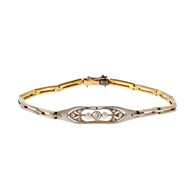Victorian Platinum Top Bracelet Natural Pearl Old Mine Diamond 18k Yellow Gold