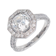 Peter Suchy Octagonal Halo Diamond Engagement Ring Platinum