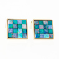 Vintage Opal Masonic Square Cuff Links 18k Yellow Gold Italian