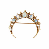 Vintage 1950 Victorian Revival Crescent Opal Pin 14k Yellow Gold