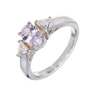 Natural Pink Purple GIA Sapphire Ring Platinum Trilliant Diamonds