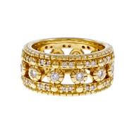 Estate Judith Ripka Eternity Ring Diamond Wedding 18k Yellow Gold