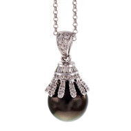 South Sea Black Cultured Pearl Pendant Diamond 18k White Gold