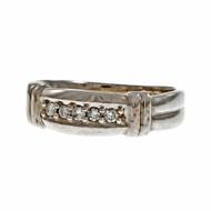 Estate Men's Diamond Wedding Band Ring 14k White Gold
