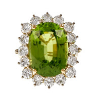Peter Suchy Antique Cushion Cut Peridot Ring Diamond 18k Yellow White Gold