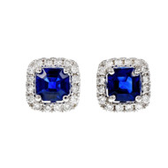 Octagonal Sapphire Diamond Earrings GIA Certified 14k White Gold