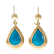 Estate 1960 Persian Turquoise Dangle Earrings 18k Yellow Gold