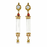 Natural Quartz Crystal Dangle Earrings Garnet Fresh Water Pearl 18k Yellow Gold