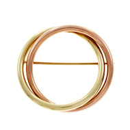 Estate Retro Pink Green Gold Double Circle Pin 14k