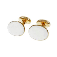 Vintage Larter & Sons Cuff Links Textured White Tops 14k Rose Gold