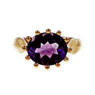 Estate Purple Amethyst Oval Ring 12 Prong 14k Yellow Gold