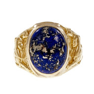Vintage Egyptian Revival 1930 Natural Lapis Ring Heavy 18k Yellow Gold