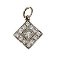 Estate Diamond Cluster Square Pendant 18k White Gold